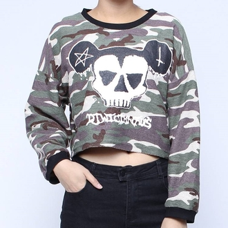 top pullover sweatshirt sweater shirt metal mickey mickey mouse metal grunge tumblr pull-over camouflage