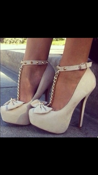 shoes tan bow cute high heels high heels chain spikes nude fashion