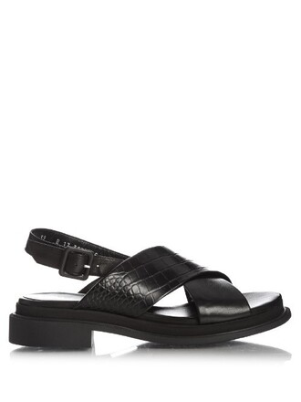 sandals leather sandals leather crocodile black shoes