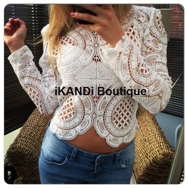6b352175014 top, crochet top, white crochet top, cropped, crop tops, white ...