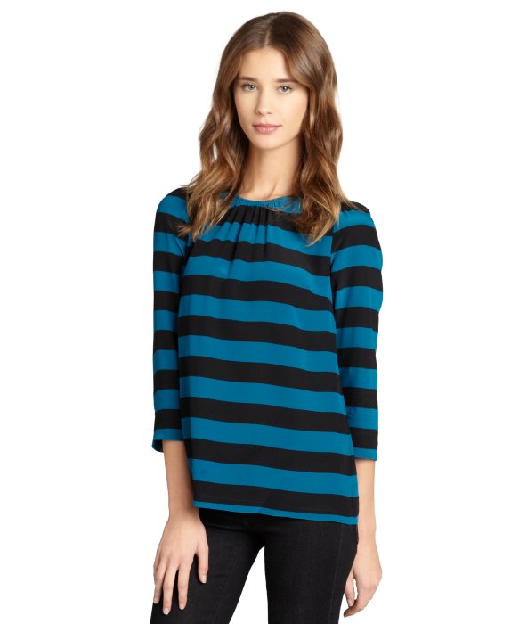 Pippa teal and black stripe silk long sleeve blouse | BLUEFLY up to 70% off designer brands