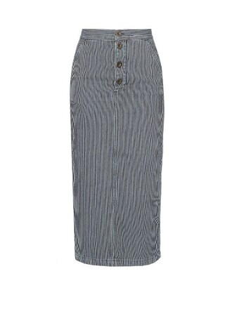 skirt striped skirt blue