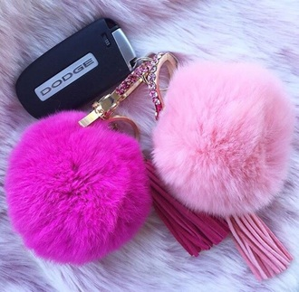 jewels bag jewels bag keychain pink fur fur keychain