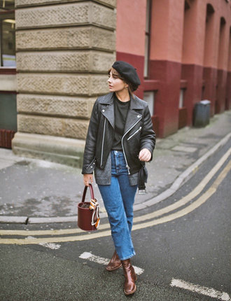 shoes tumblr boots brown boots ankle boots denim jeans blue jeans cropped jeans jacket black jacket black leather jacket leather jacket beret bag handbag