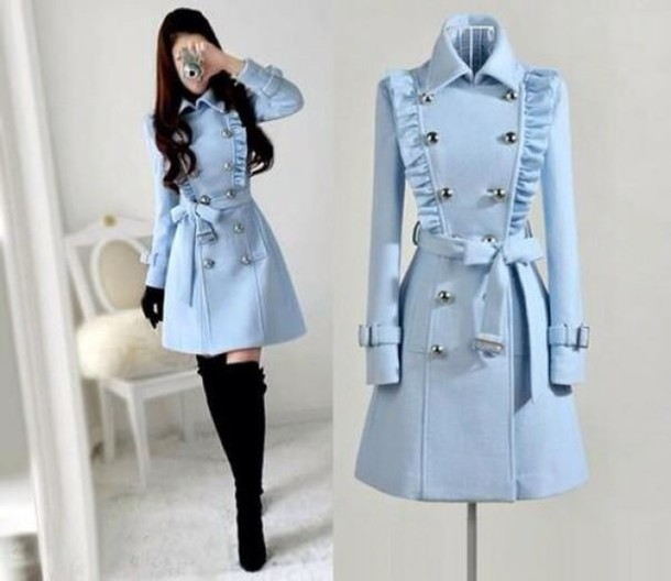 blue coat kstyle cute dress christmas bun boots black high heels pastel blue periwinkle bue double breasted wool dress coat ruffle belted coat dress
