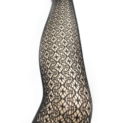 Collants dentelle sexy rã©sille motif 05 fantaisie noir t.u pin up glam punk rock
