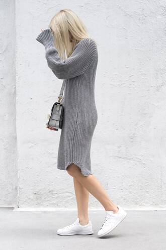 dress all grey everything all grey outfit tumblr bag grey bag grey dress midi dress knitwear knitted dress sweater dress sneakers low top sneakers