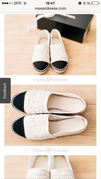 shoes chanel canvas espadrilles chanel white cc blouse white and black coco chanel black shoe white shoe chanel espadrilles