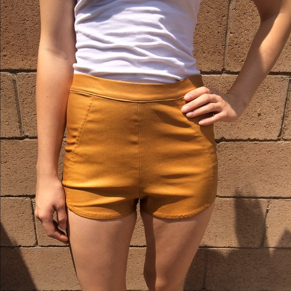 Faux tan leather shorts from sissy's closet on poshmark