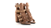 shoes,high heels,rivets,sandals,sandal heels,brown,fransen,fringe shoes