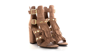 shoes high heels rivets sandals sandal heels brown fransen fringe shoes