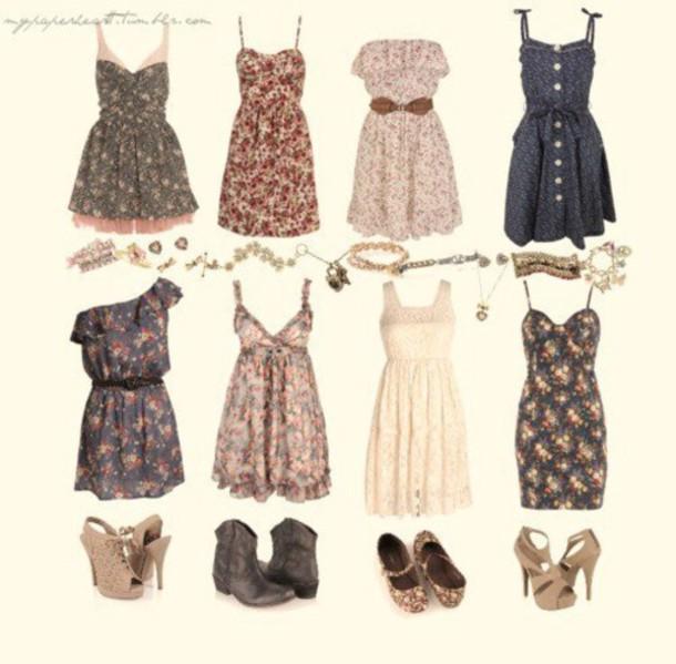 Dress cute clothes sweet flowers summer vintage short bohemian t