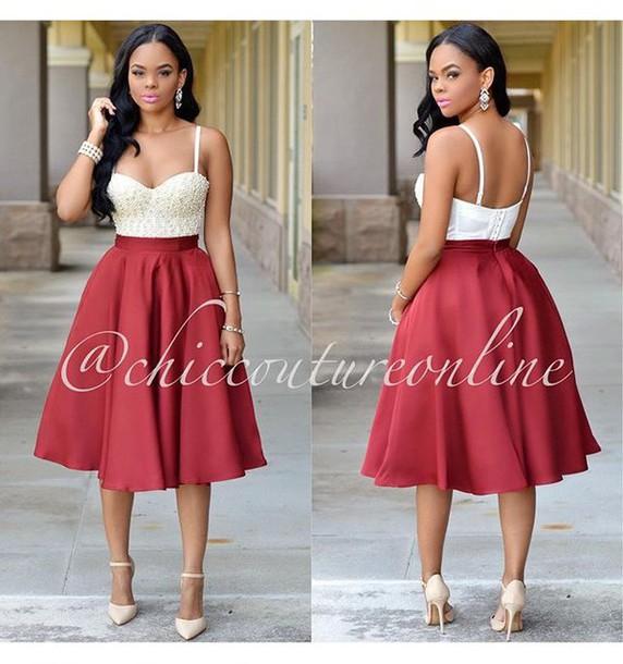 7190a3182 bustier, midi skirt, pearl, red skirt, flare skirt, formal - Wheretoget