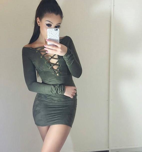 Dress: green, sexy, hot, cute, long prom dress, tumblr, boho, grunge, underwear ...