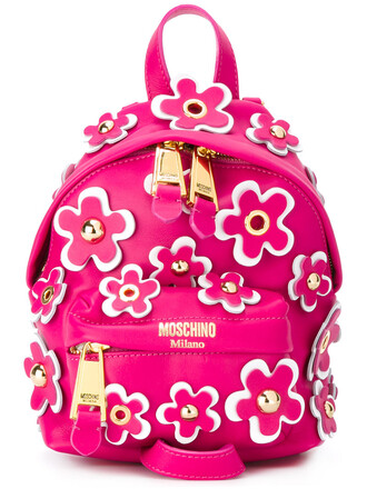 backpack leather purple pink bag