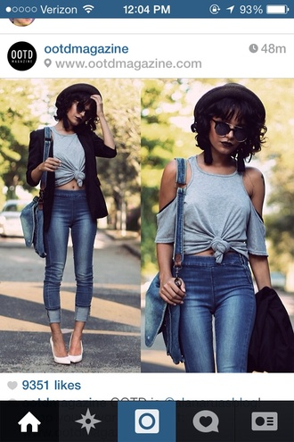 shirt grey shoulderless knot crop tops