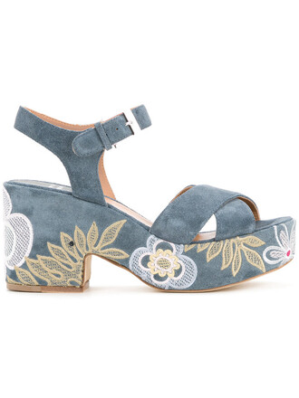 denim embroidered women sandals leather blue shoes