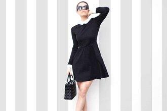 frassy blogger collared dress long sleeve dress dior bag dress bag socks shoes