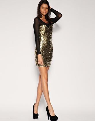 dress sequin dress mesh dress bodycon dress gold gold sequins new year's eve