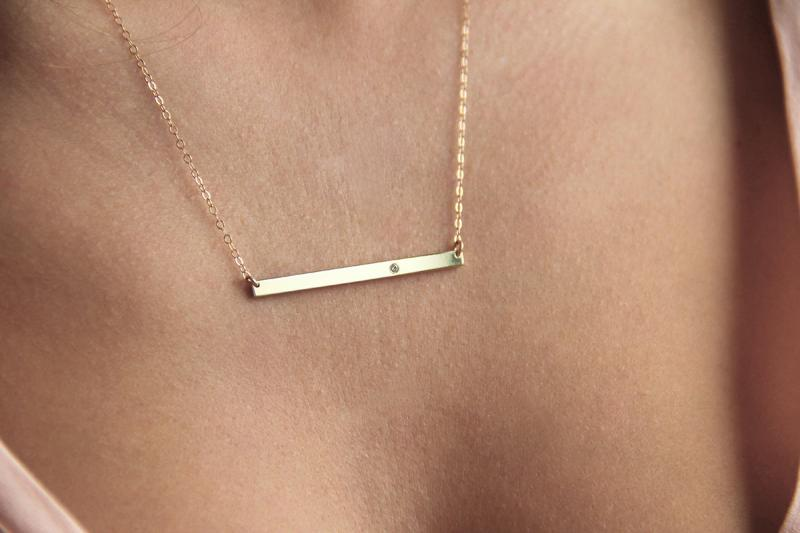 14k Gold Bar Necklace with Diamond Solid Gold Bar by MINIMALVS
