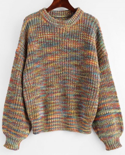 sweater girly sweatshirt jumper knitwear knit knitted sweater colorful
