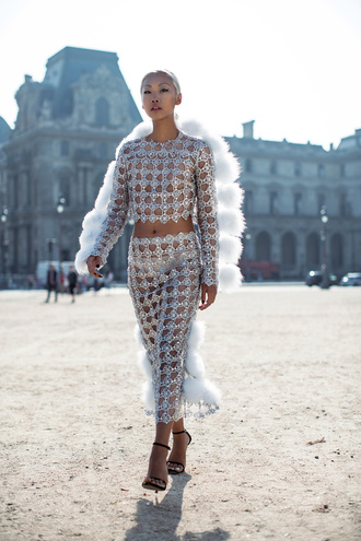 the haute pursuit blogger top crochet fur two-piece see through shoes