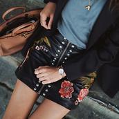 skirt,tumblr,leather,leather skirt,black skirt,embroidered,embroidered skirt,zip,zipped skirt,watch,top,grey top,bag,brown bag,mini skirt,floral skirt,studs,studded skirt,date outfit,flowers,roses