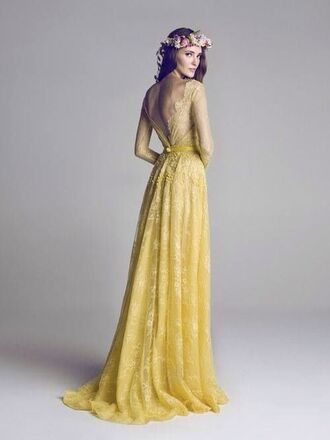 dress yellow lace bohemian dress long dress yellow dress