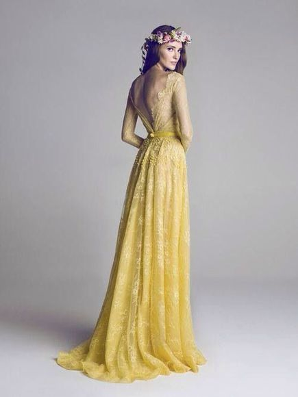 yellow lace dress bohemian dress