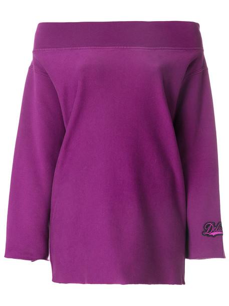 Golden Goose Deluxe Brand - off-shoulder sweatshirt - women - Cotton - S, Pink/Purple, Cotton