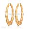 Wholesale earrings for women - buy hot item 18k real gold plated big bamboo grain hoop earrings basket ball wives jewelry for women statement jewllery mgc e664, $7.44 | dhgate