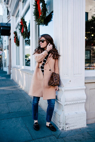 sequins and stripes blogger coat jeans sweater sunglasses bag loafers beige coat winter outfits