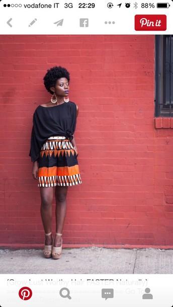 skirt ethnic orange black skirt shorts african american african american african shorts african print african pattern ethnic pattern ethnic print black white pattern printed shorts