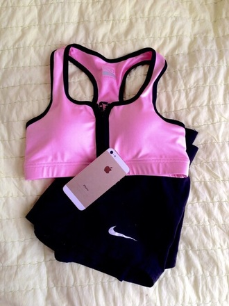top pink sports bra zip up workout top