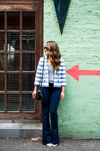 sequins and stripes blogger jacket tank top jeans sunglasses bag stripes blue jacket grey top skinny jeans shoulder bag mini bag wide-leg pants striped jacket tassel black bag flare jeans blue jeans spring outfits