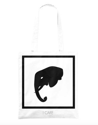 bag tote bag white bag elephant print elephant