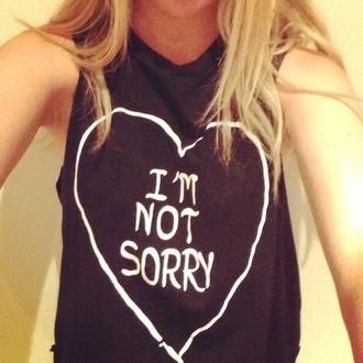 tank top im not sorry pink black heart cute t-shirt love it i'm not sorry