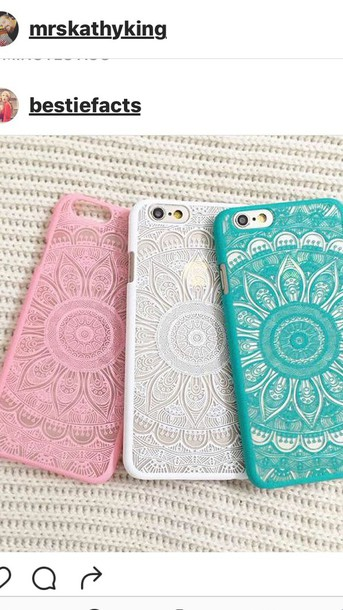 phone cover white blue pink