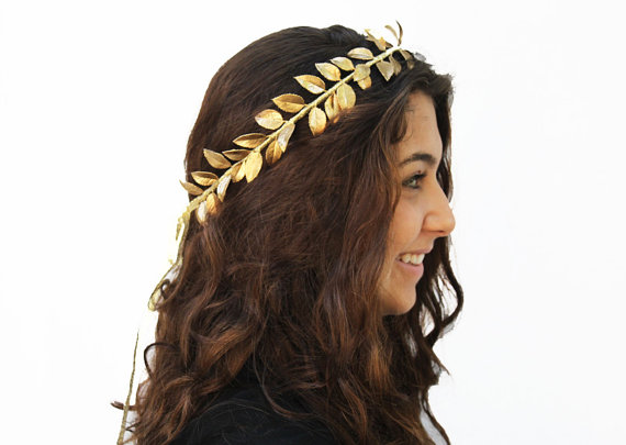 Goddess gold leaf crown gold leaf hair wreath by bloomdesignstudio