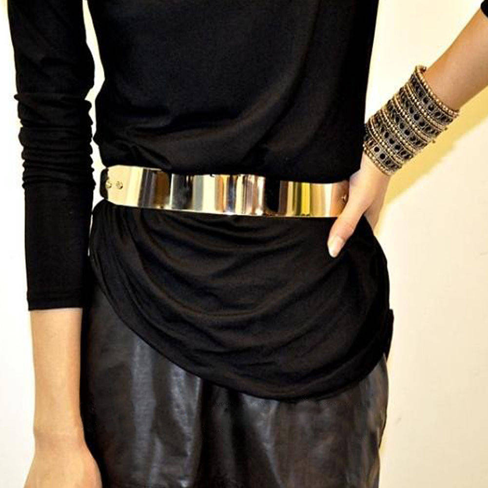 New Fashion Metal Wide Gold Tone Metallic Shiny Skinny Wide OBI Belt Black | eBay