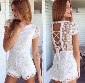 romper white romper white lace cute jumpsuit haute rogue white lace romper jet romper crochet open back partial open back open backed dress white jumper