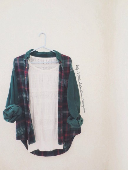 green jacket vintage grunge flannel outwear fall outfits flannel shirt