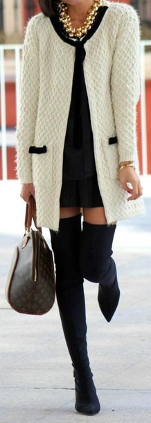 cardigan white and black cardigan shoes classic classy knee high boots necklace coat white cream black
