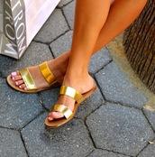 shoes,metallic slides,slide shoes,gold shoes,flat sandals