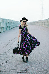 a little dash of darling,blogger,hat,maxi dress,floral dress,dress,shoes,bag,floral maxi dress