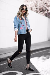 jacket,tumblr,patched denim,patch,denim jacket,denim,jeans,black jeans,skinny jeans,shoes,mules,sunglasses