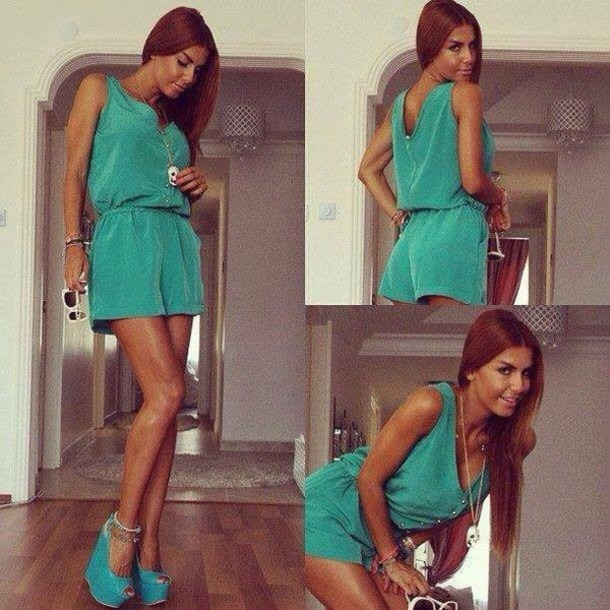 dress romper romper green turquoise