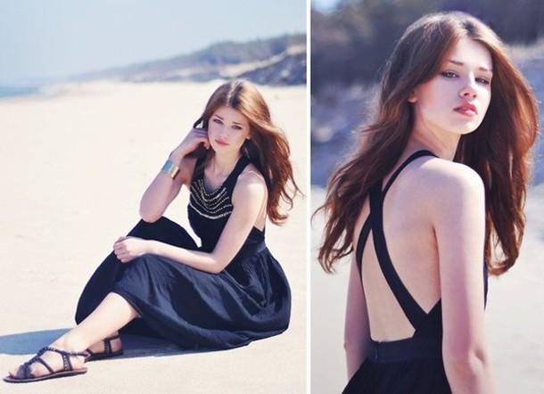 black dress open back black dress