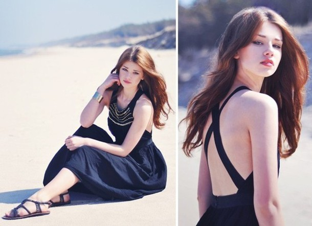 black dress open back black