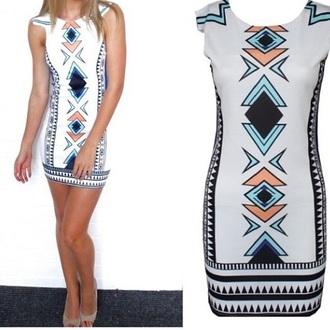 dress mini dress white prinr print pattern